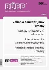 DUPP 7/2017 Zákon o dani z príjmov - zmeny