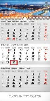 3mesačný mesto šedý 2018 - nástěnný kalendár