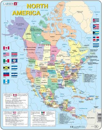 Puzzle Maxi Mapa Severni Ameriky Vlajky 85 Dilku Neuveden